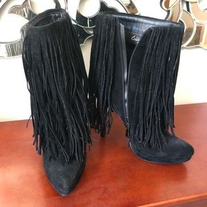 HOT fringed suede boots! Brand new!